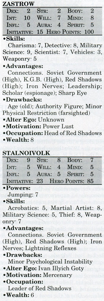 Stalnoivolk and Zastrow Mayfair DC Heroes RPG statistics 1990
