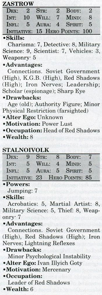 Stalnoivolk and Zastrow Mayfair DC Heroes RPG statistics 1990