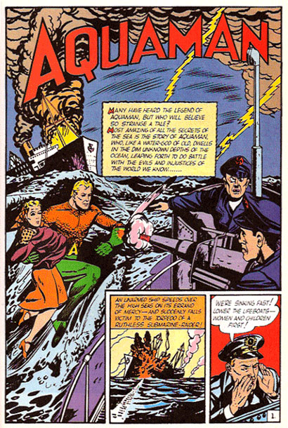 Aquaman's first appearance in More Fun Comics #73 Spash Page - Millennium Edition