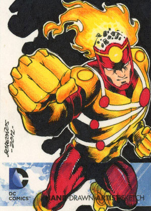 Dan Borgonos draws Firestorm for the DC Comics The New 52 artist sketch card