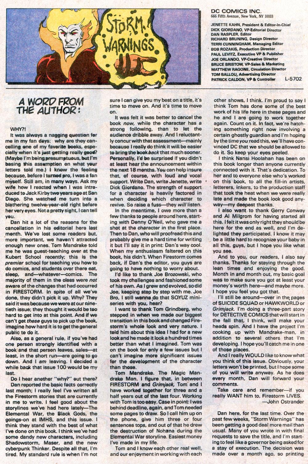 John Ostrander's farewell letter in Firestorm #100