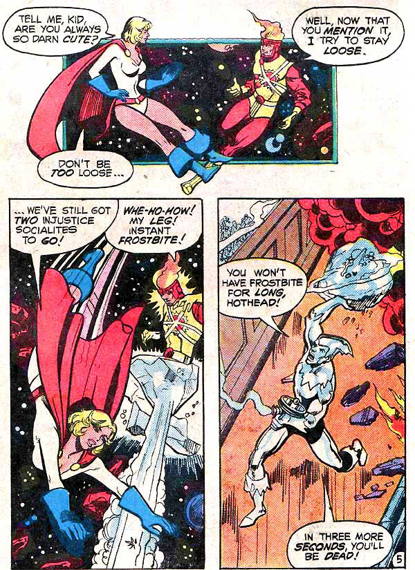 Power Girl and Firestorm romantic flirting - Justice League of America #184 by George Perez