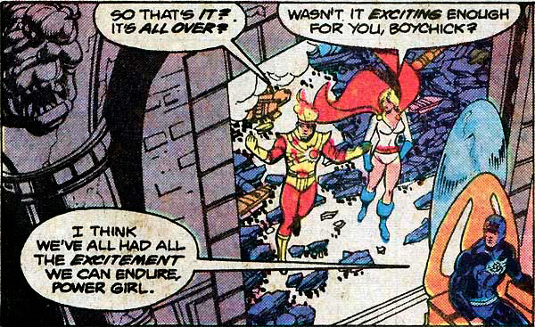 Power Girl and Firestorm romantic flirting - Justice League of America #185 by George Perez