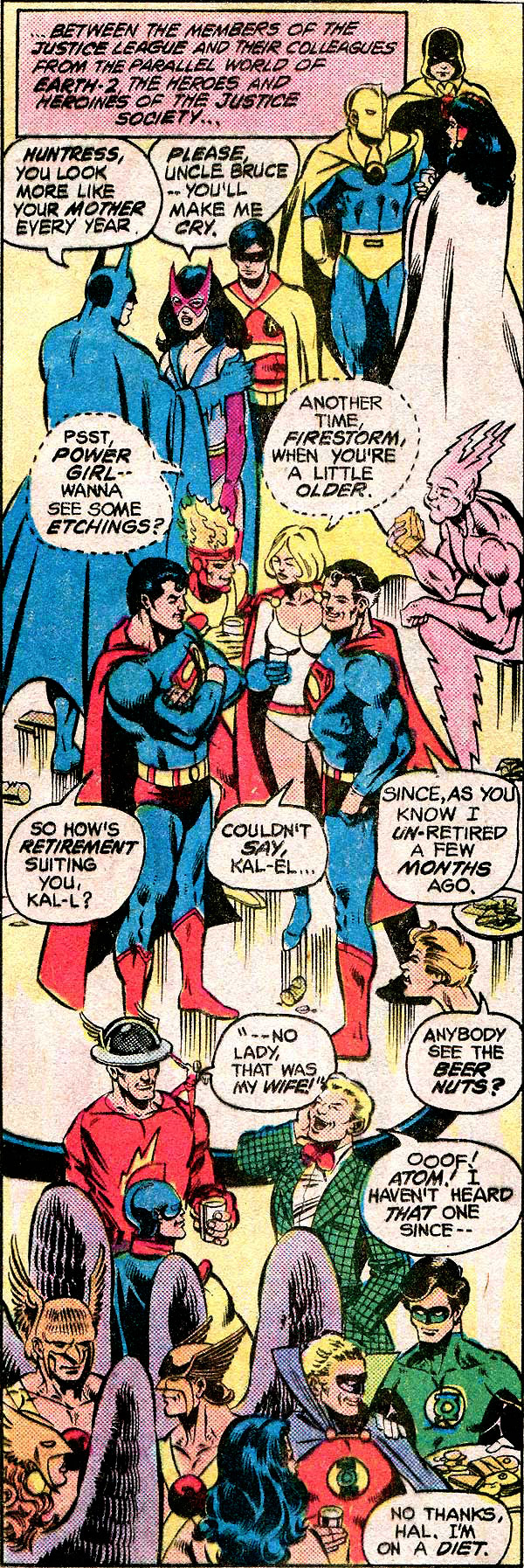 Power Girl and Firestorm romantic flirting - Justice League of America #195 by George Perez
