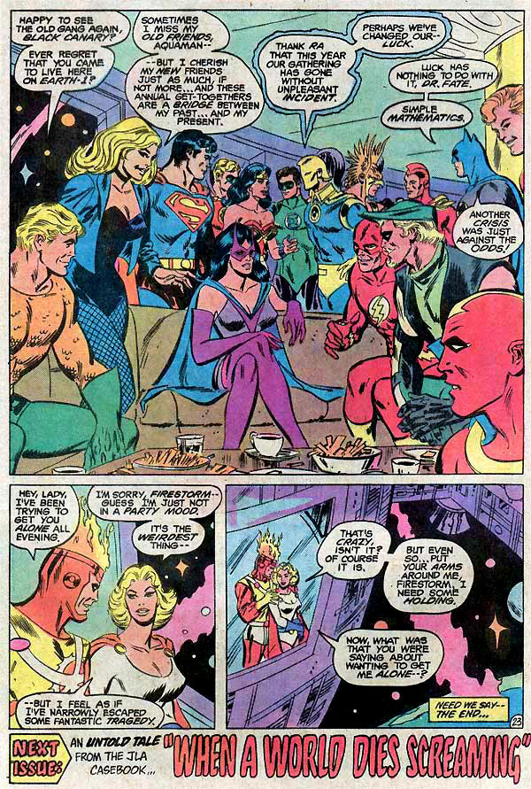 Power Girl and Firestorm romantic flirting - Justice League of America #209 by Don Heck