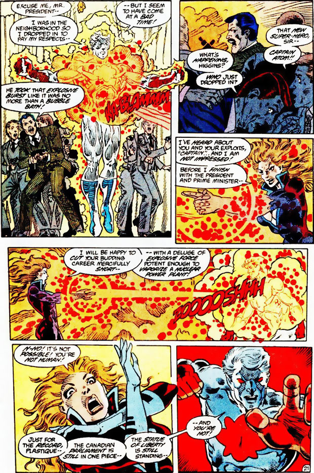 Plastique's failed assassination attempt in Captain Atom #2