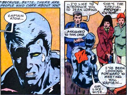 Jean Loring for the prosecution against Plastique in Captain Atom #49