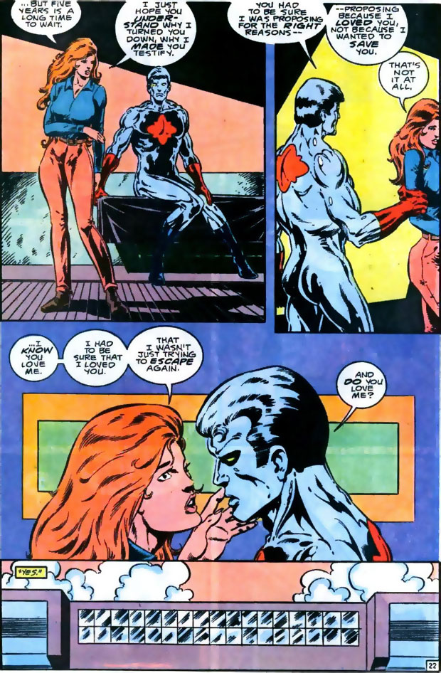 Plastique and Captain Atom discuss their relationship in Captain Atom #49