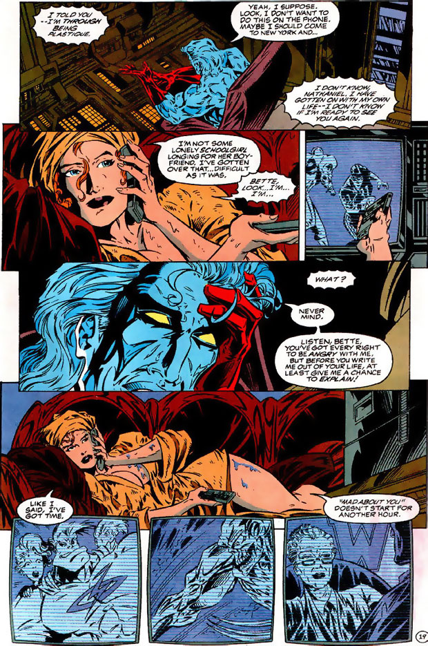 Captain Atom and Plastique talk after a long separation in Extreme Justice #6