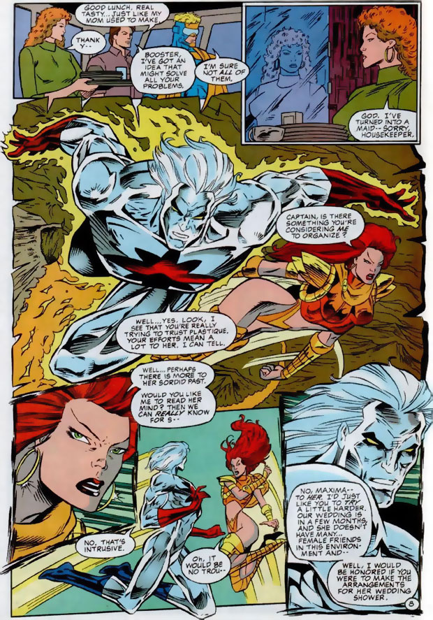 Captain Atom asks Maxima to plan Plastique's Wedding Shower in Extreme Justice #10