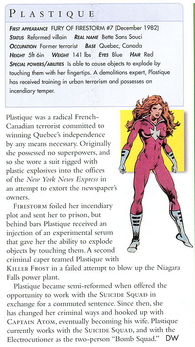 Plastique from DK's DC Comics Encyclopedia, Updated and Expanded Edition (2008)
