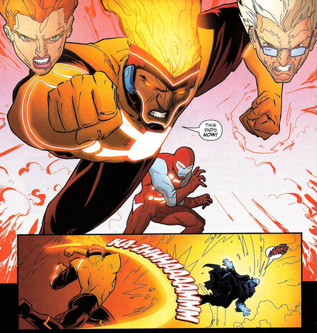 Mikhail Arkadin as Pozhar from Firestorm the Nuclear Man #31 by Stuart Moore and Freddie Williams II
