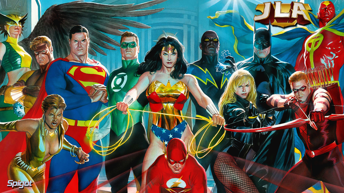 Alex Ross art of the Justice League ... without Firestorm