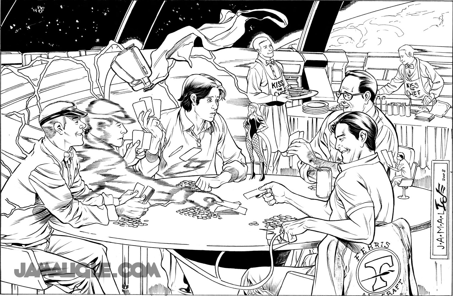 JLA Satellite Era Poker Game by Jamal Igle