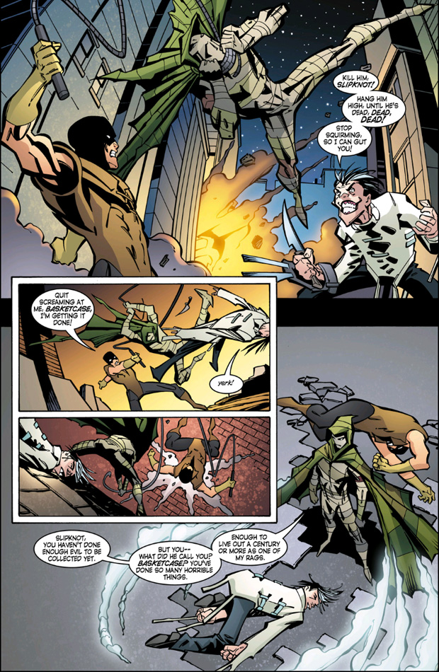 Slipknot in Robin #145 fighting Ragman by Bill Willingham and Scott McDaniel