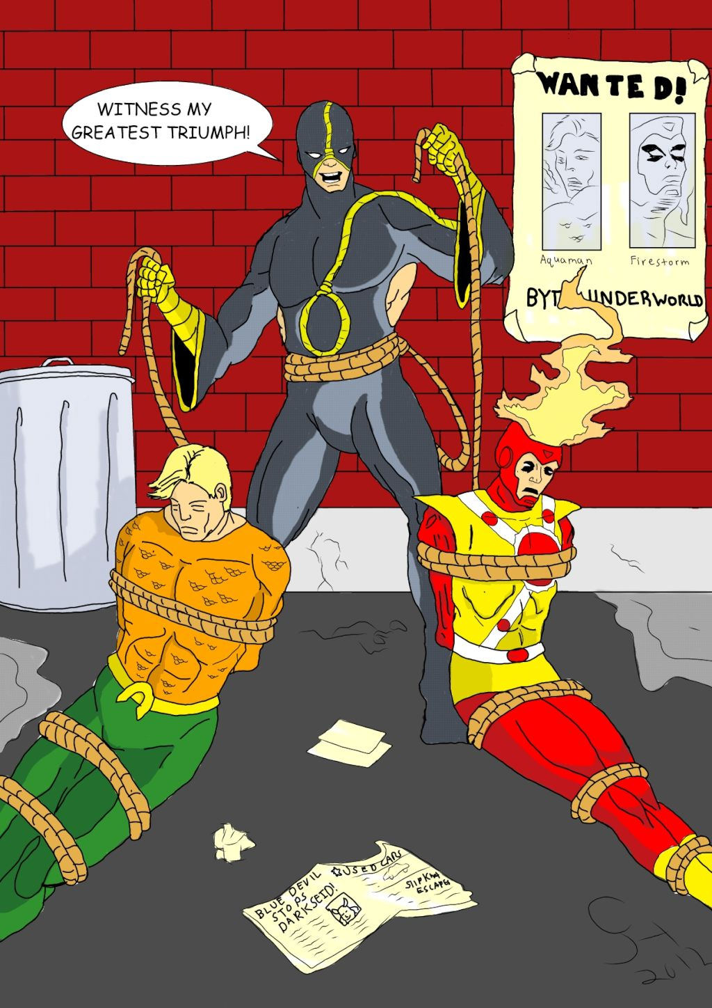 Slipknot triumphant over Firestorm and Aquaman by Corey Hodgdon (hyeroc)