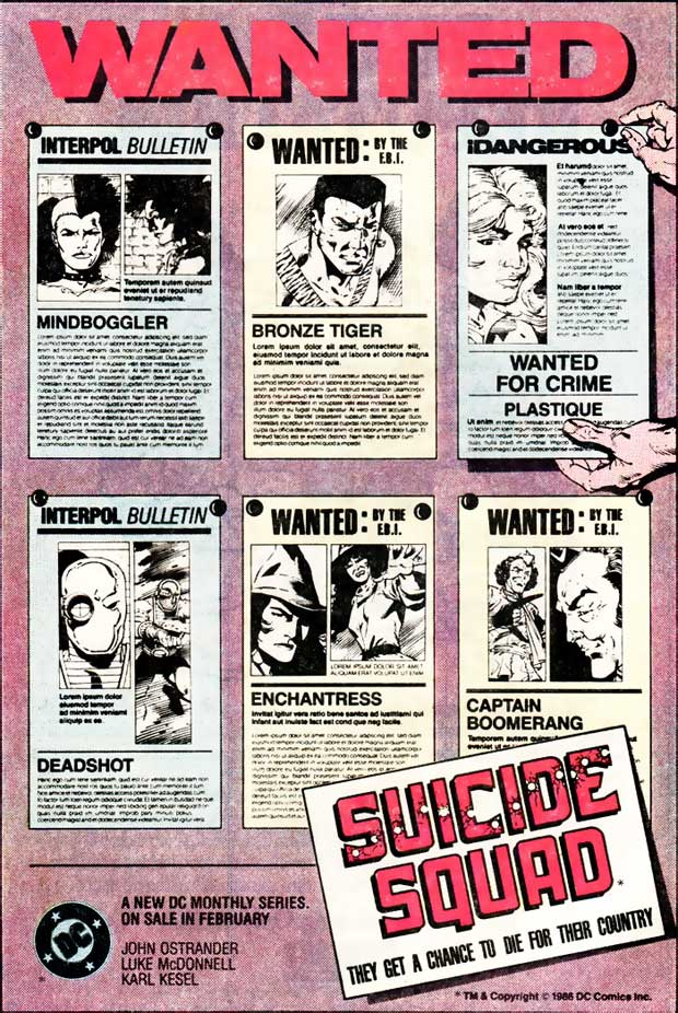 Suicide Squad advertisement in DC Comics 1987