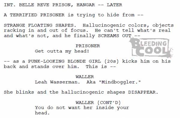 Suicide Squad film script featuring Mindboggler