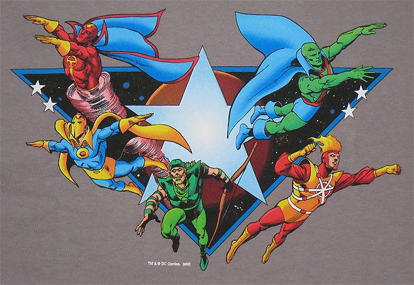 Super Powers t-shirt with Firestorm, Green Arrow, Red Tornado, Doctor Fate, and Martian Manhunter