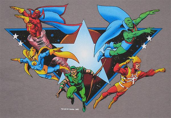 Super Powers t-shirt with Firestorm, Green Arrow, Red Tornado, Doctor Fate, and Martian Manhunter