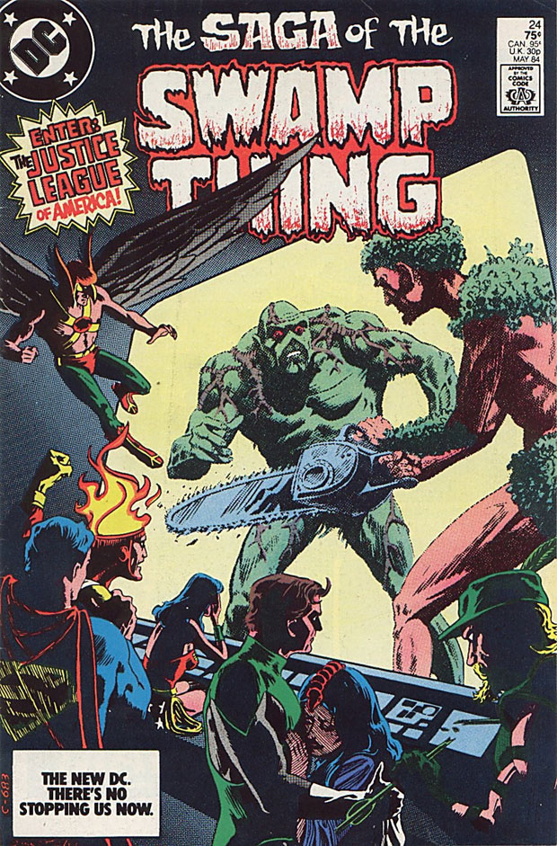 Saga of the Swamp Thing #24 cover by Stephen Bissette and Tom Yeates featuring Firestorm and the JLA
