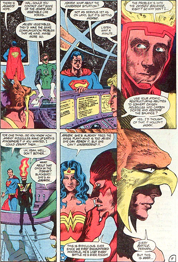 Saga of the Swamp Thing #24 by Alan Moore, Stephen Bissette and John Totleben featuring Firestorm and the JLA