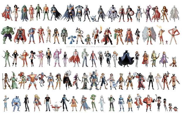 100 Tiny Characters by Marcio Takara