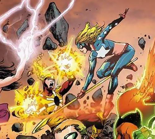 Firestorm versus Stargirl in Trinity War promotional art by Ivan Reis, Joe Prado, and Rod Reis