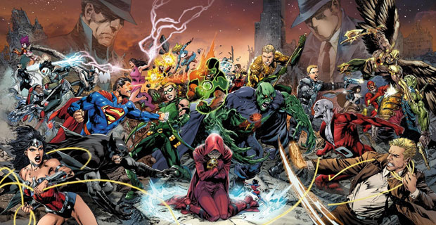 Trinity War promotional art by Ivan Reis, Joe Prado, and Rod Reis