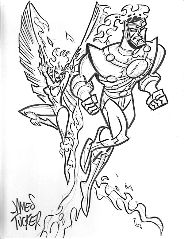 Firestorm and Firehawk sketch by James Tucker from fizzit-fzam.blogspot.com