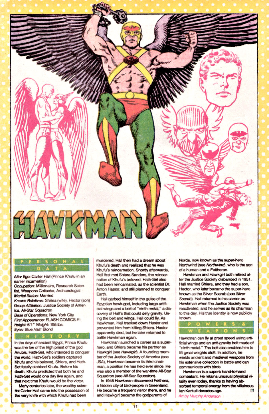 Carter Hall Hawkman Who's Who entry by Murphy Anderson