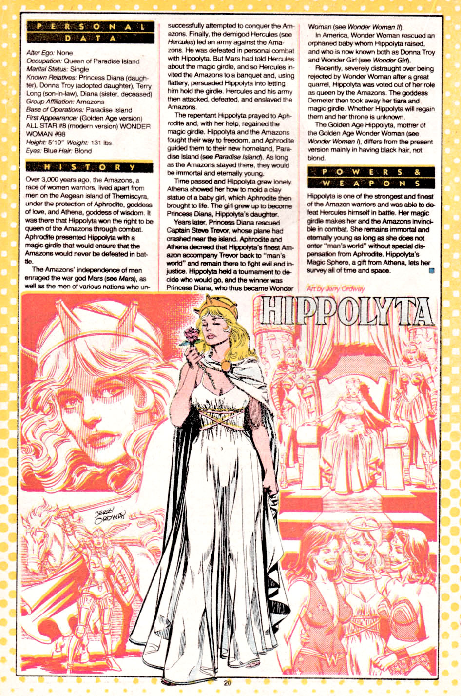Hippolyta by Jerry Ordway - Who's Who: The Definitive Directory of the DC Universe #10