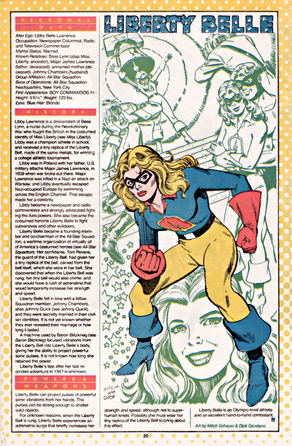 Who's Who Liberty Belle by Mitch Schauer and Dick Giordano
