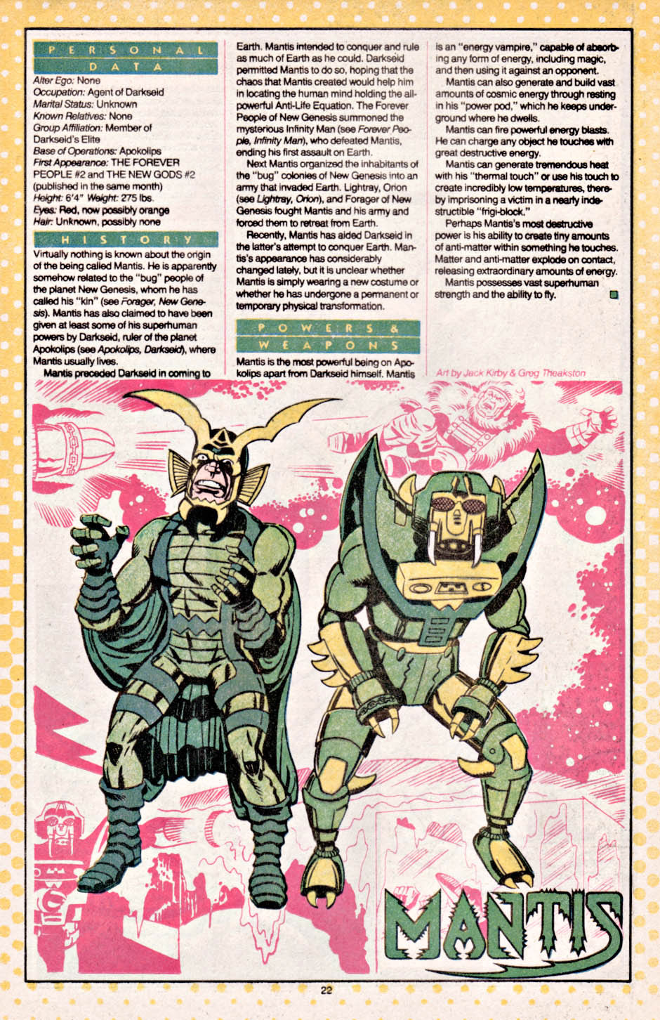 Mantis by Jack Kirby from Who's Who