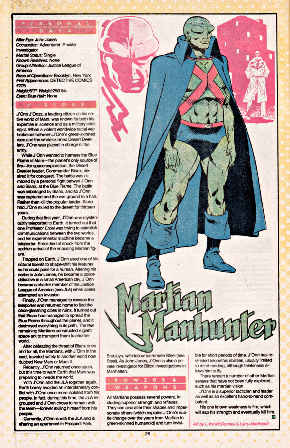 Martian Manhunter from Who's Who by Luke McDonnell