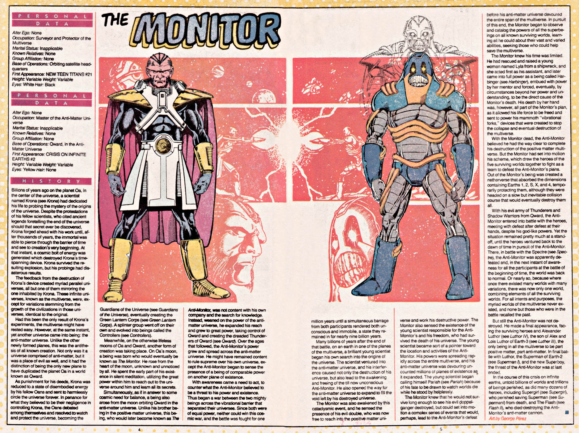 The Monitor and Anti-Monitor Who's Who by George Perez