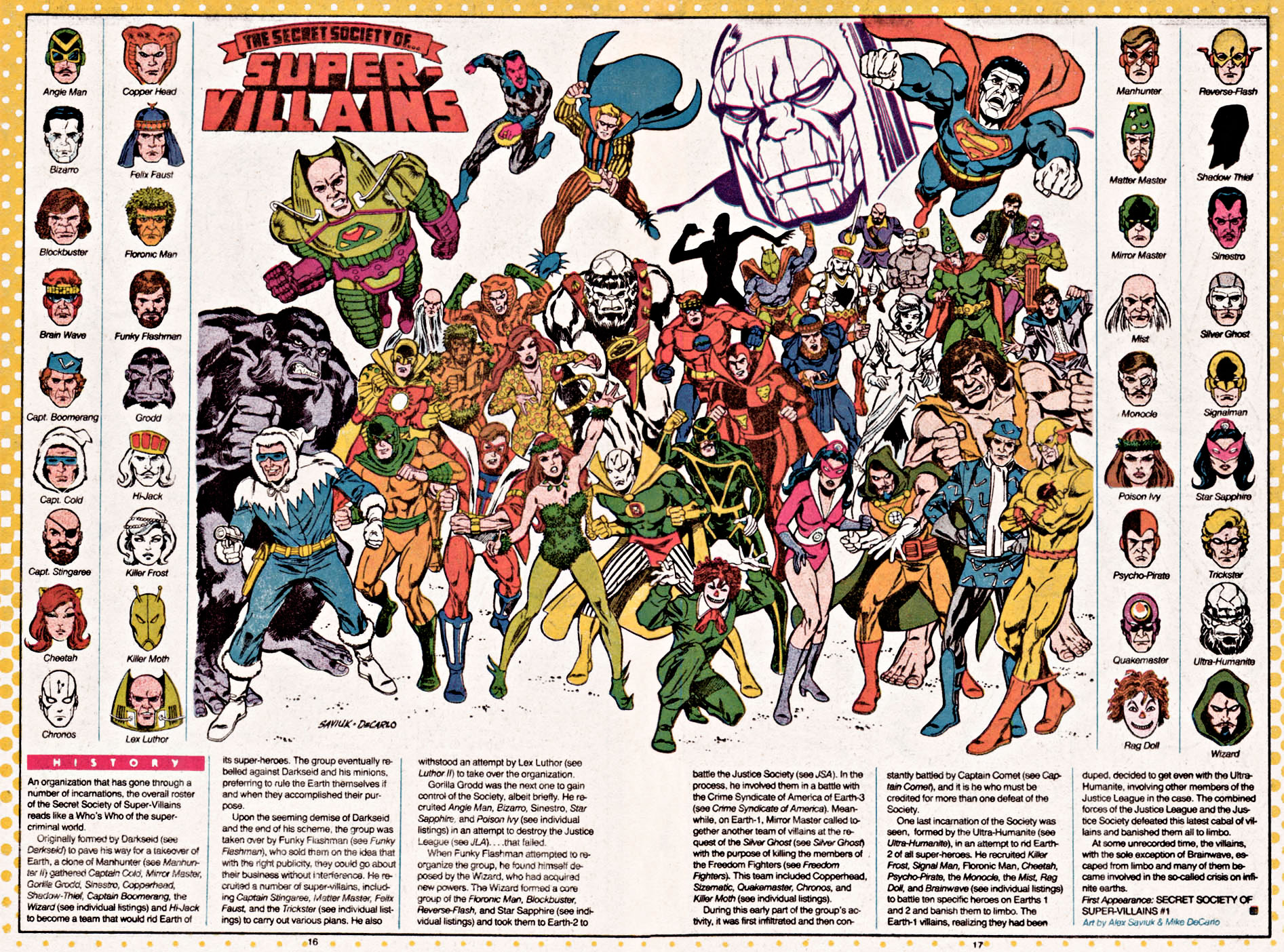 Secret Society of Super-Villains from Who's Who drawn by Alex Saviuk & Mike DeCarlo
