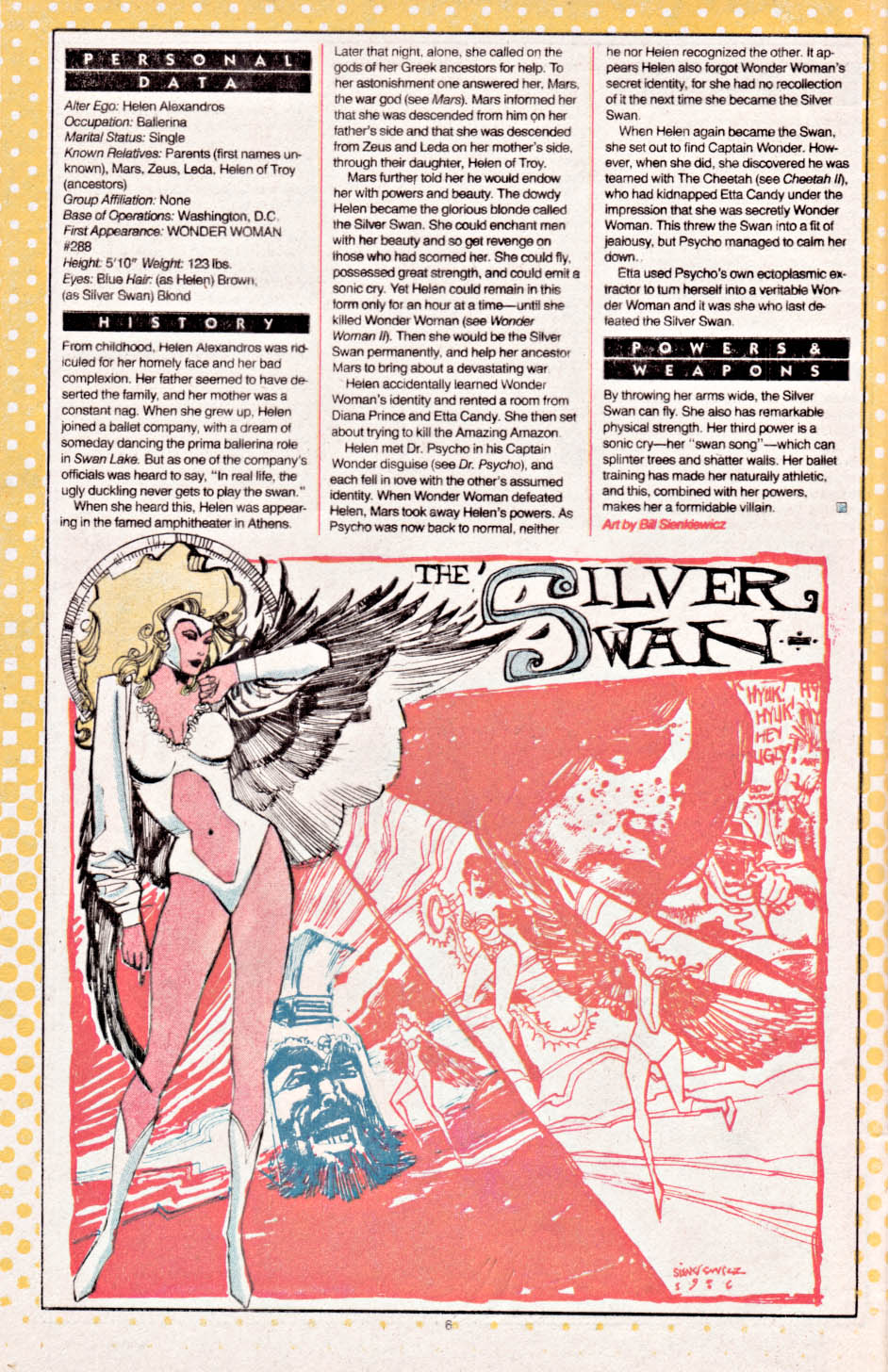 Silver Swan by Bill Sienkiewicz - Who's Who: The Definitive Directory of the DC Universe #21