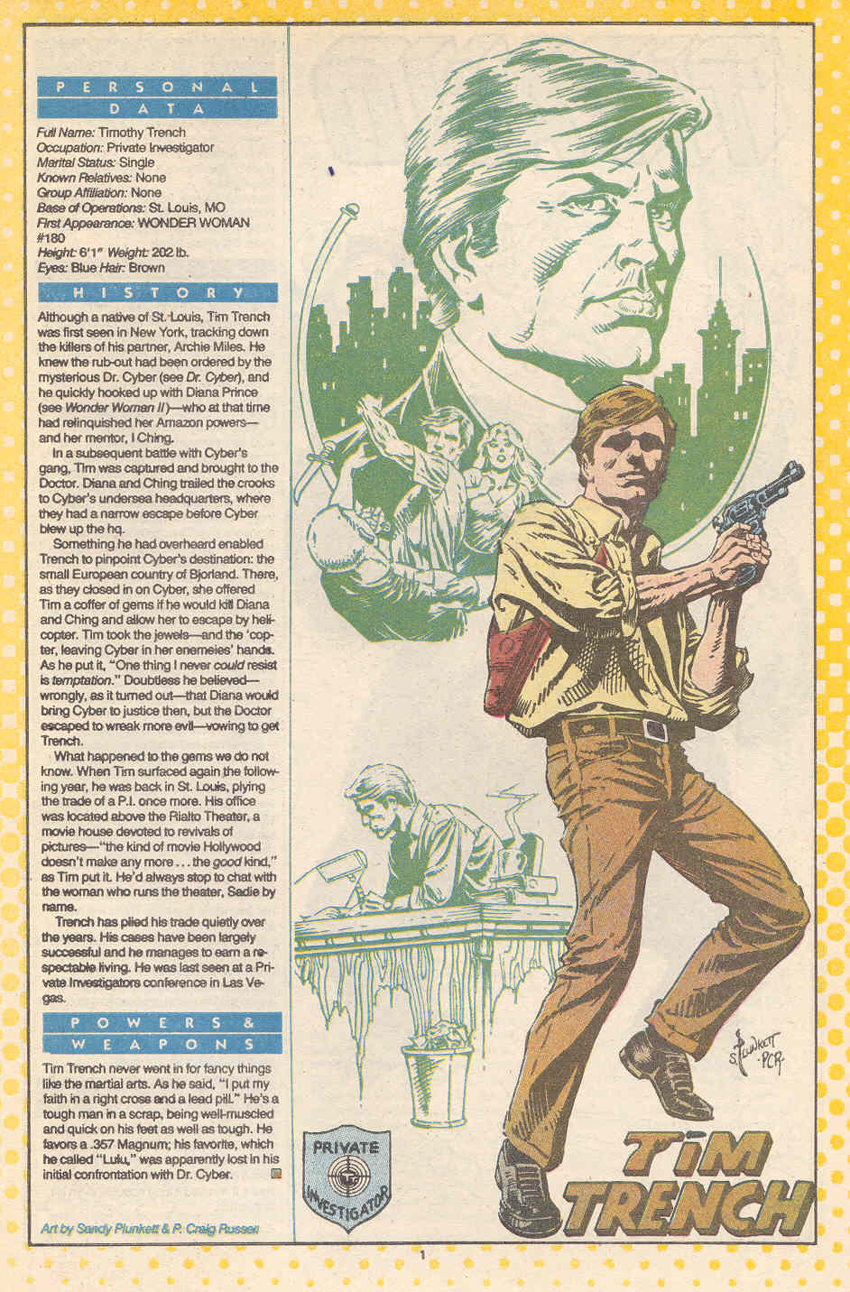 Tim Trench by Sandy Plunkett and P Craig Russell - Who's Who: The Definitive Directory of the DC Universe #24