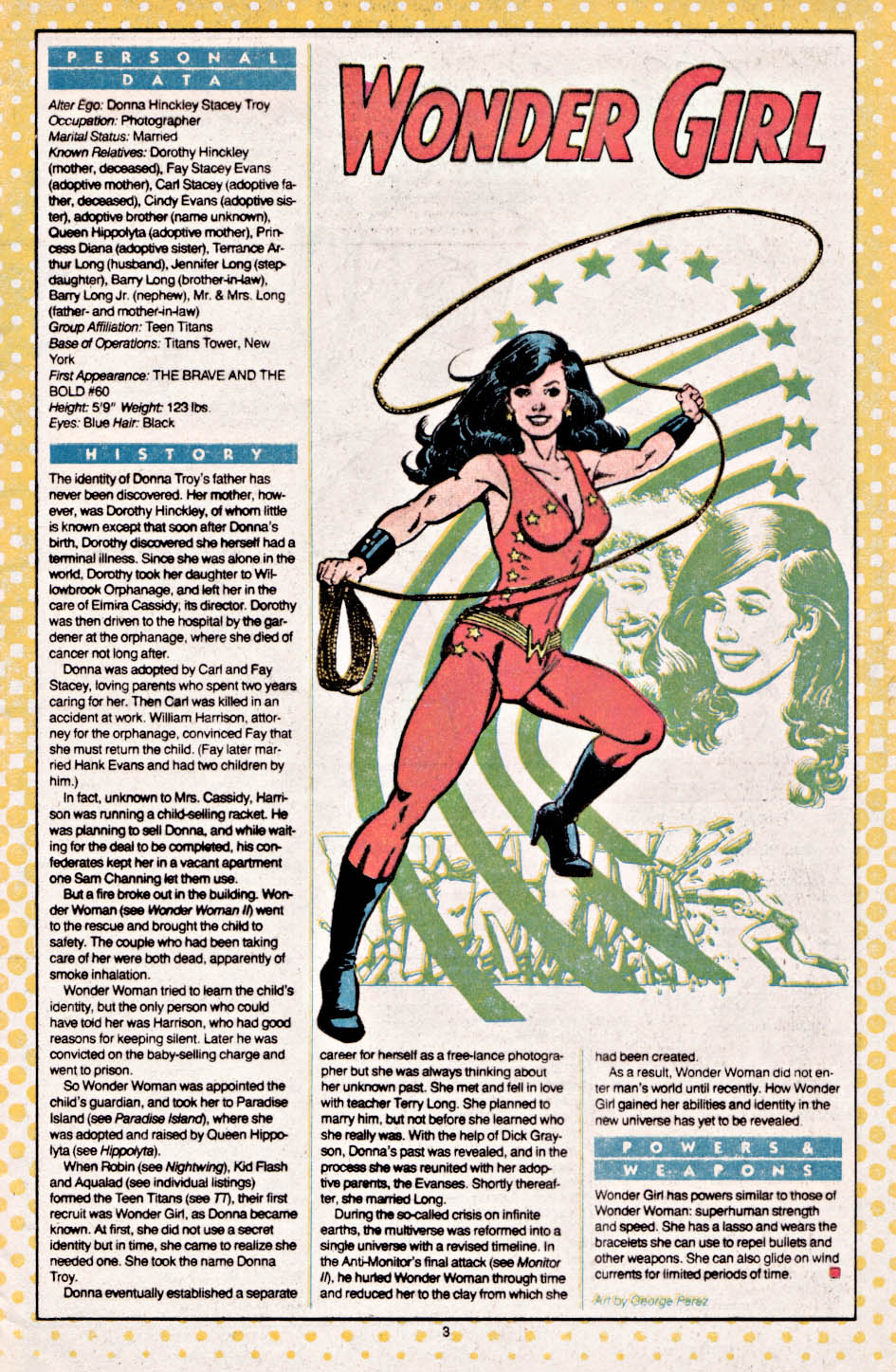 Wonder Girl by George Perez - Who's Who: The Definitive Directory of the DC Universe #26