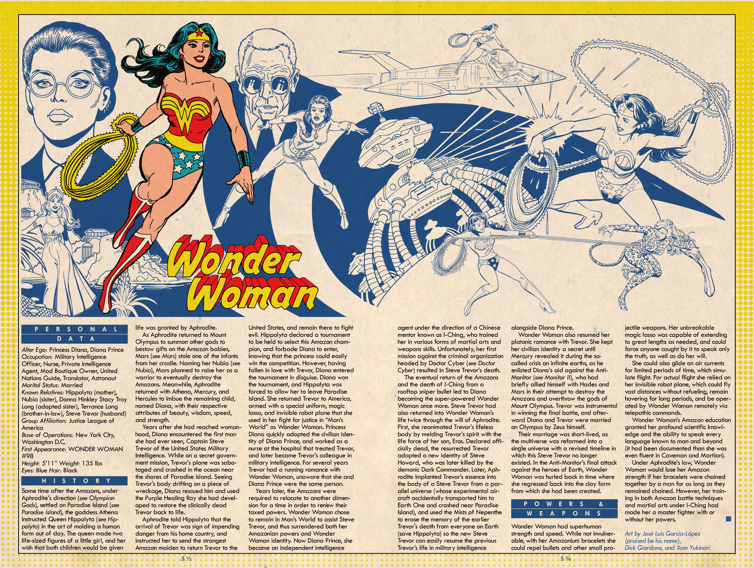 Wonder Woman by Jose Luis-Garcia Lopez (Praise Be His Name), Dick Giordano and Xum Yukinori - Xum Yukinori's Addendum to the Definitive Directory of the DC Universe!