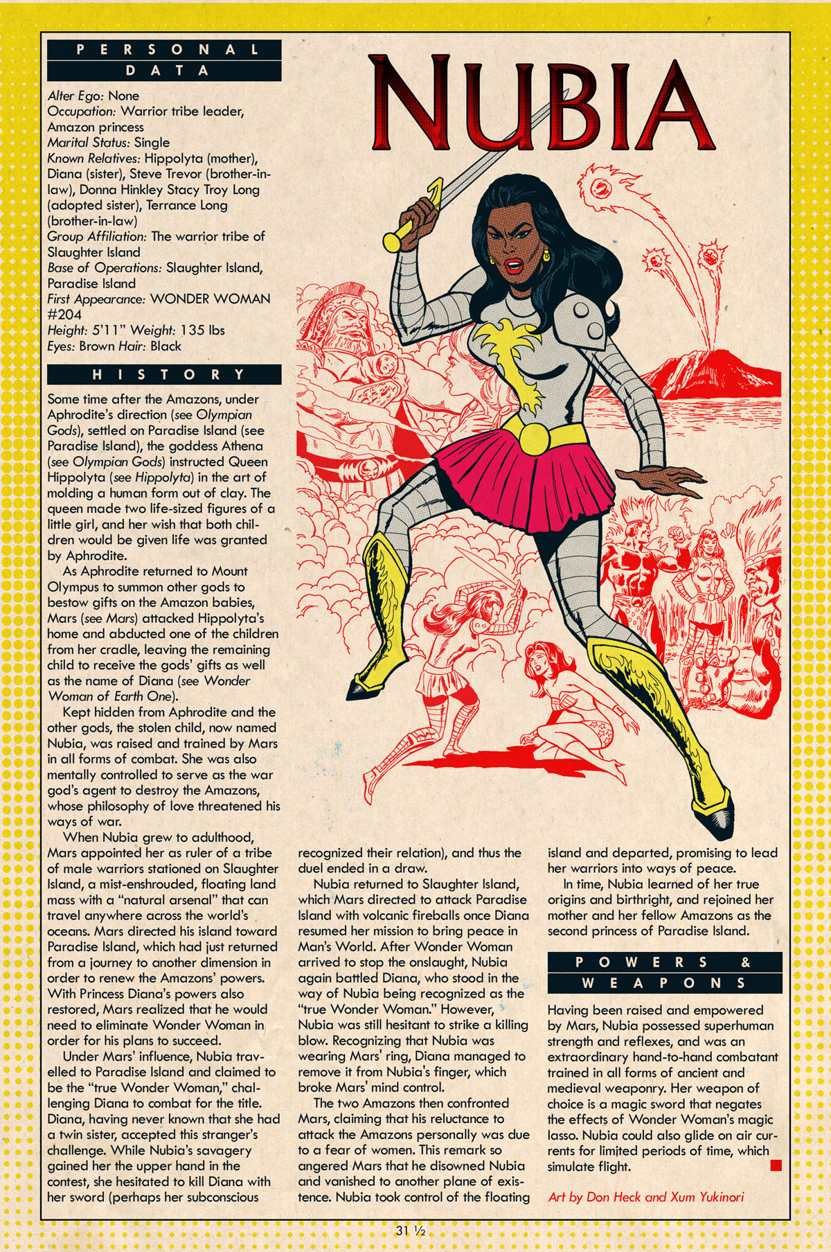 Nubia by Don Heck and Xum Yukinori - Xum Yukinori's Addendum to the Definitive Directory of the DC Universe!