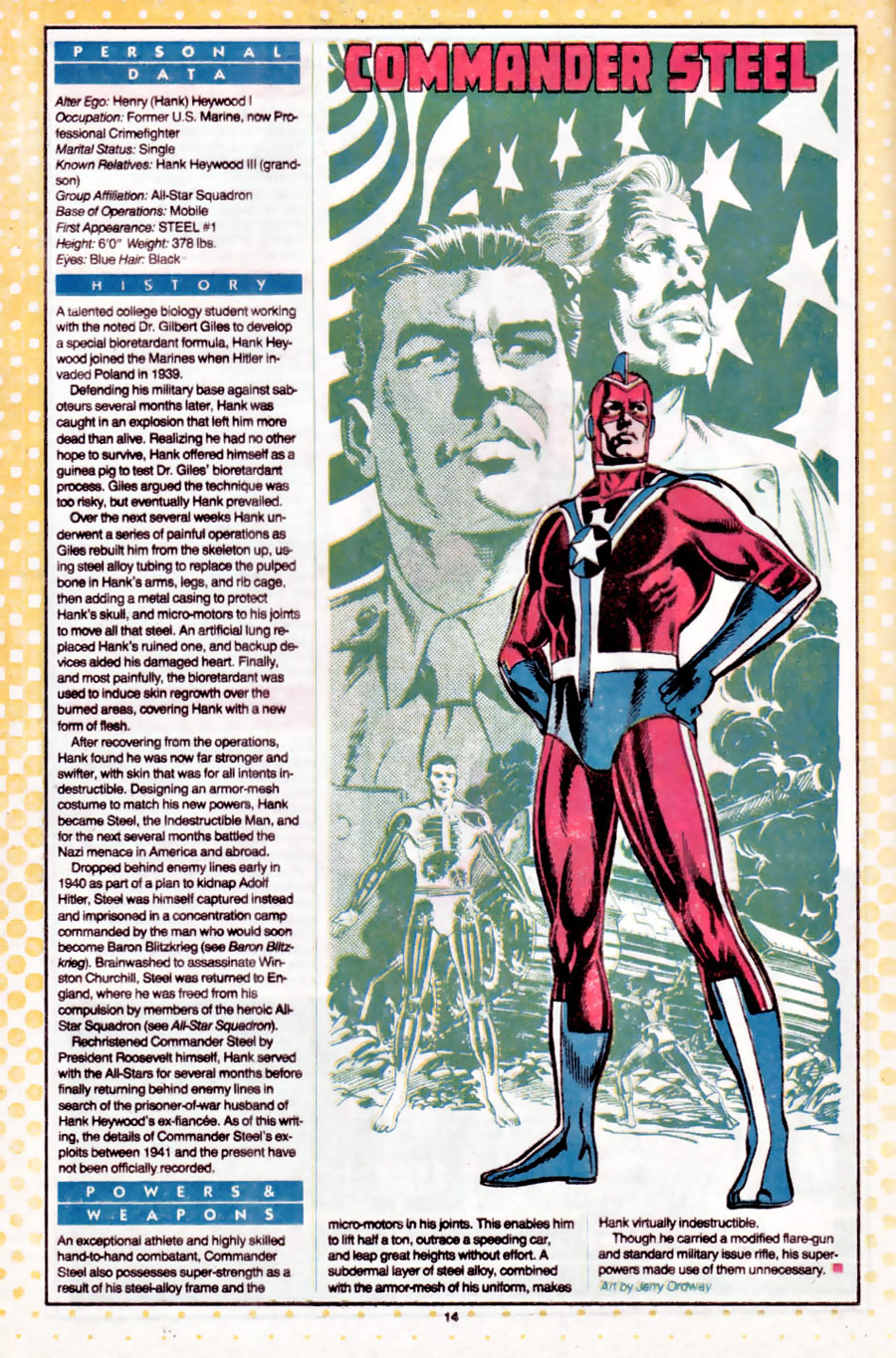 Commander Steel by Jerry Ordway from Who's Who