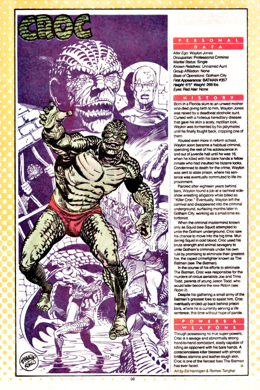 Killer Croc from Who's Who created by Gerry Conway and drawn by Ed Hannigan and Romeo Tanghal
