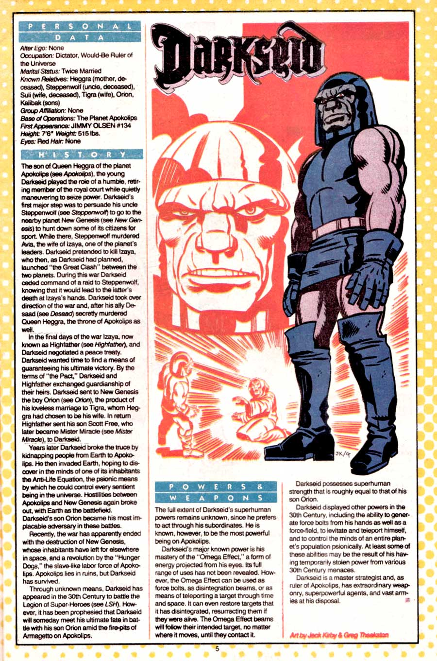 Darkseid by Jack Kirby and Greg Theakston from Who's Who