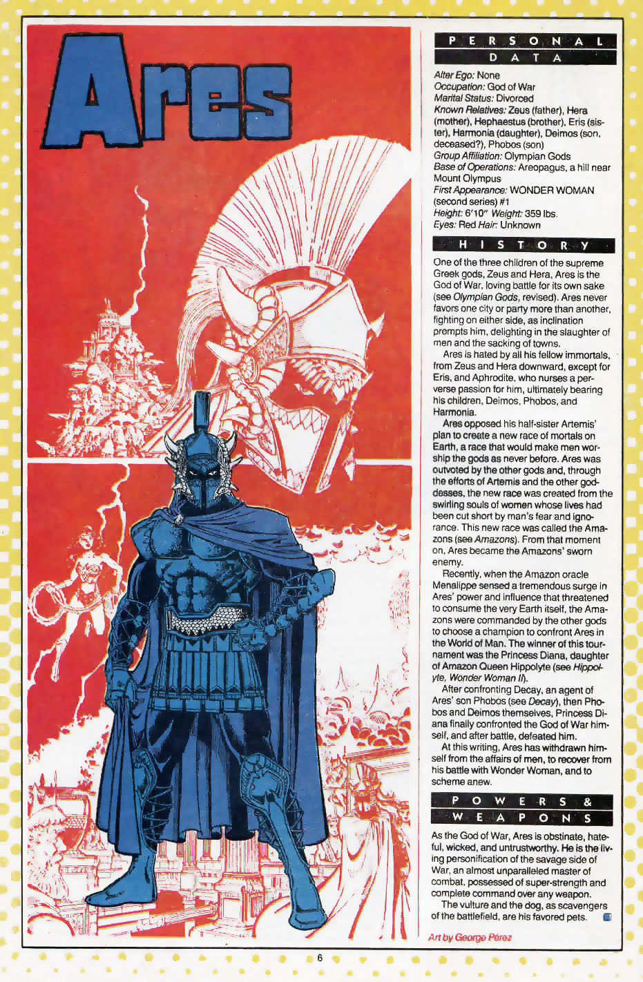 Ares by George Perez - Who's Who: Update '87, vol. 1