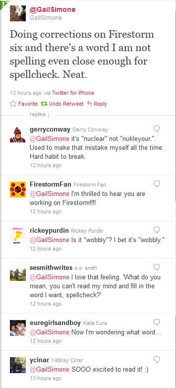 Gail Simone Twitter regarding Firestorm