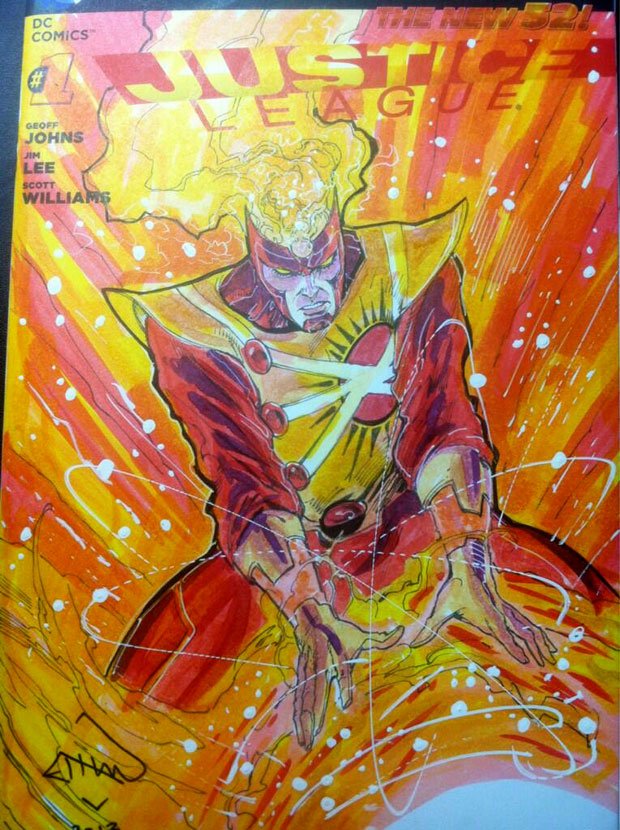 Ethan Van Sciver draws Firestorm on Justice League #1 blank variant