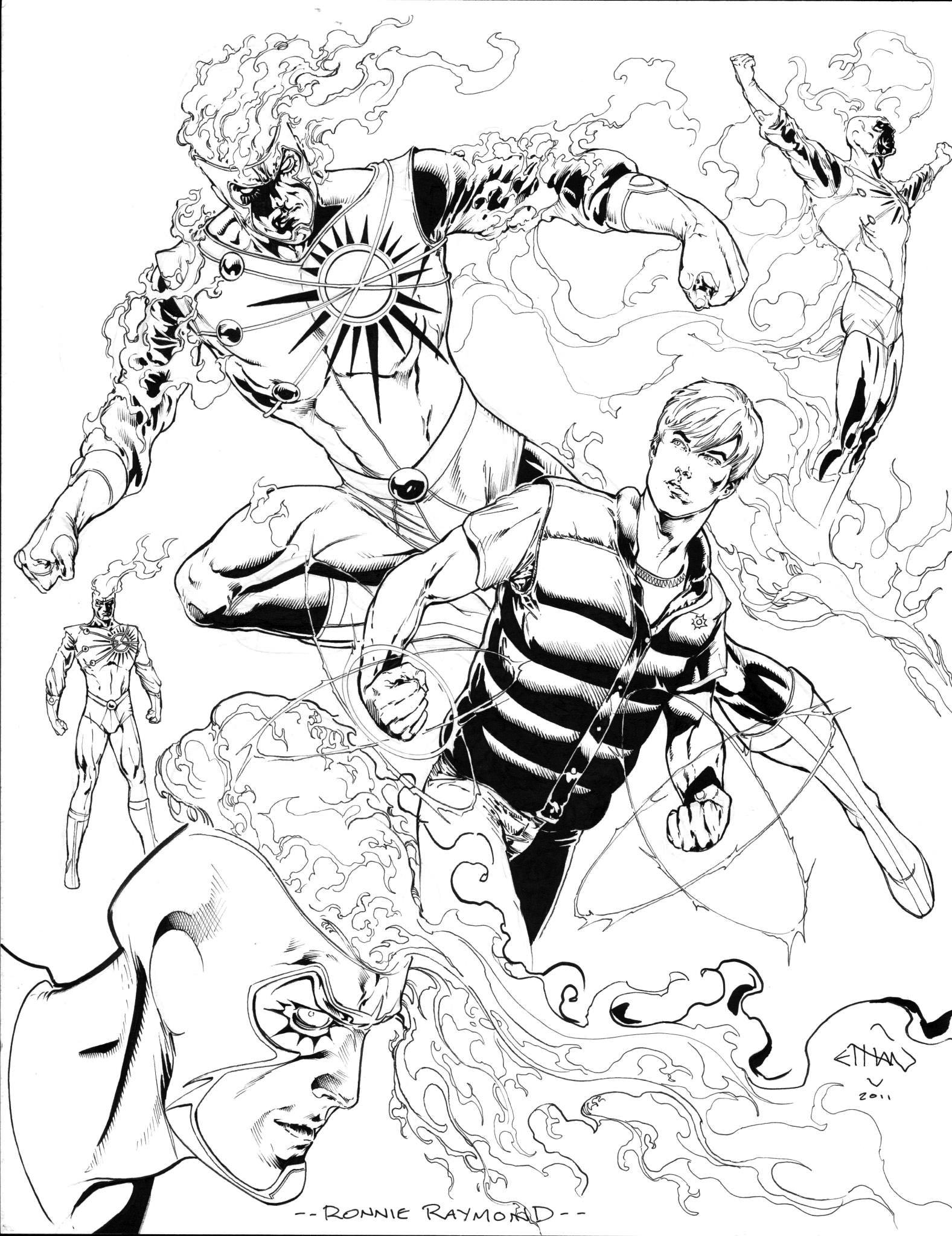 Ethan Van Sciver's concept artwork for the Ronnie Raymond Firestorm