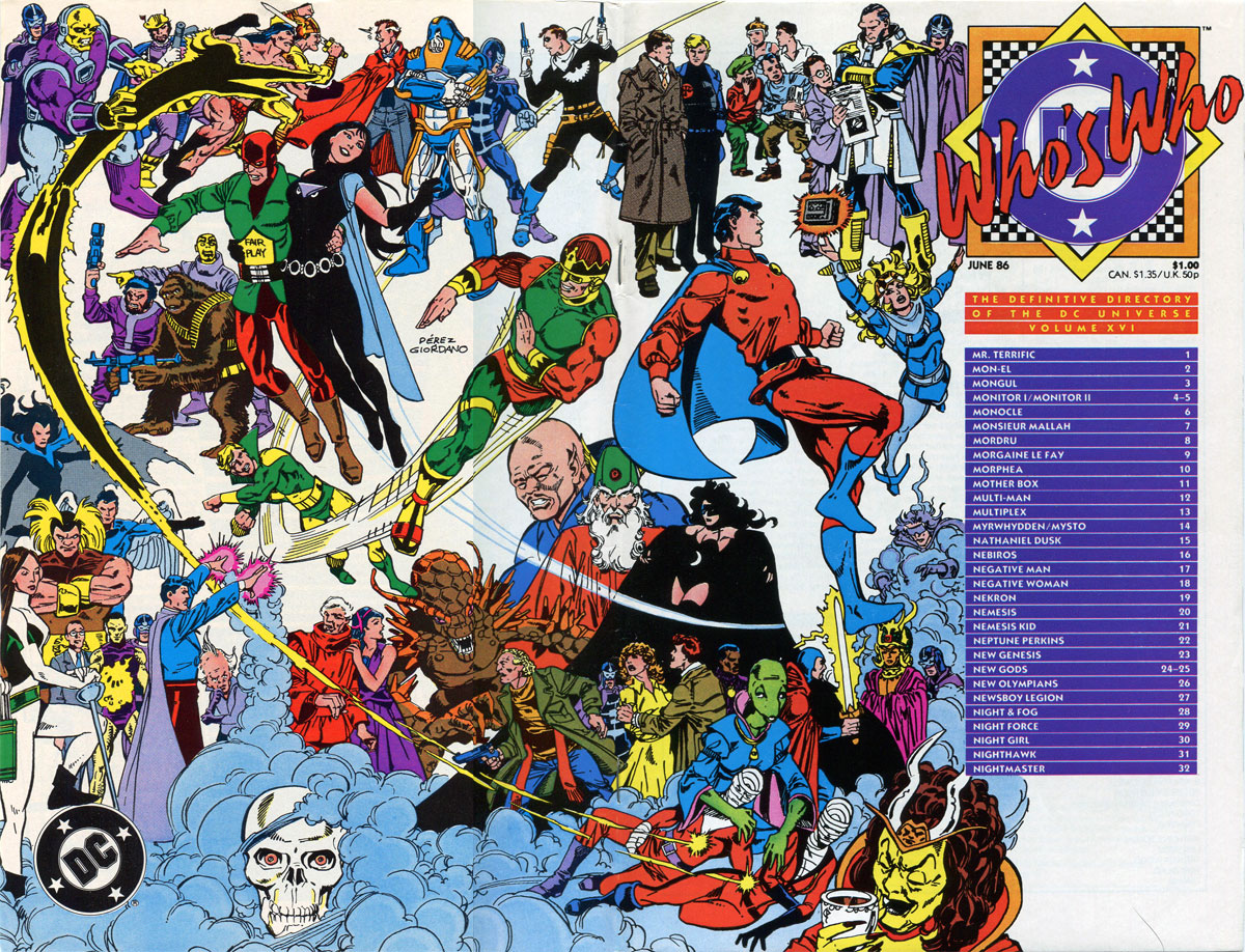 Who's Who: The Definitive Podcast of the DC Universe, Volume XVI cover by George Perez and Dick Giordano